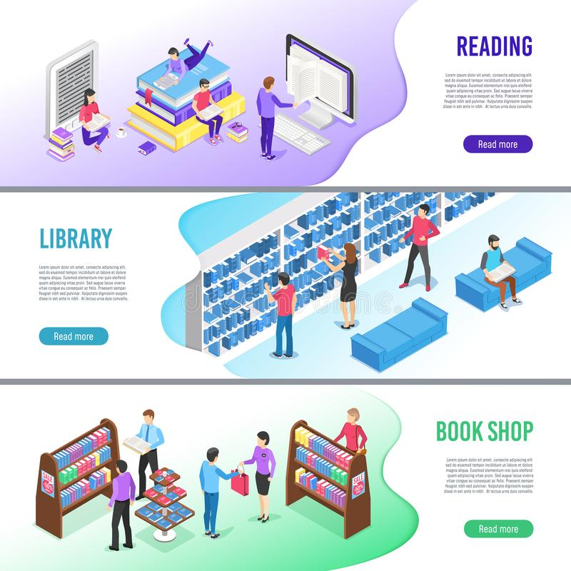 Bannière lue isométrique de livre La bibliothèque en ligne réserve avec le repère, lisant des bannières de vecteur de manuel d'eb illustration de vecteur