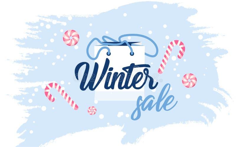Bannière lumineuse avec les bonbons et le paquet de cadeau sur un fond d'hiver illustration libre de droits