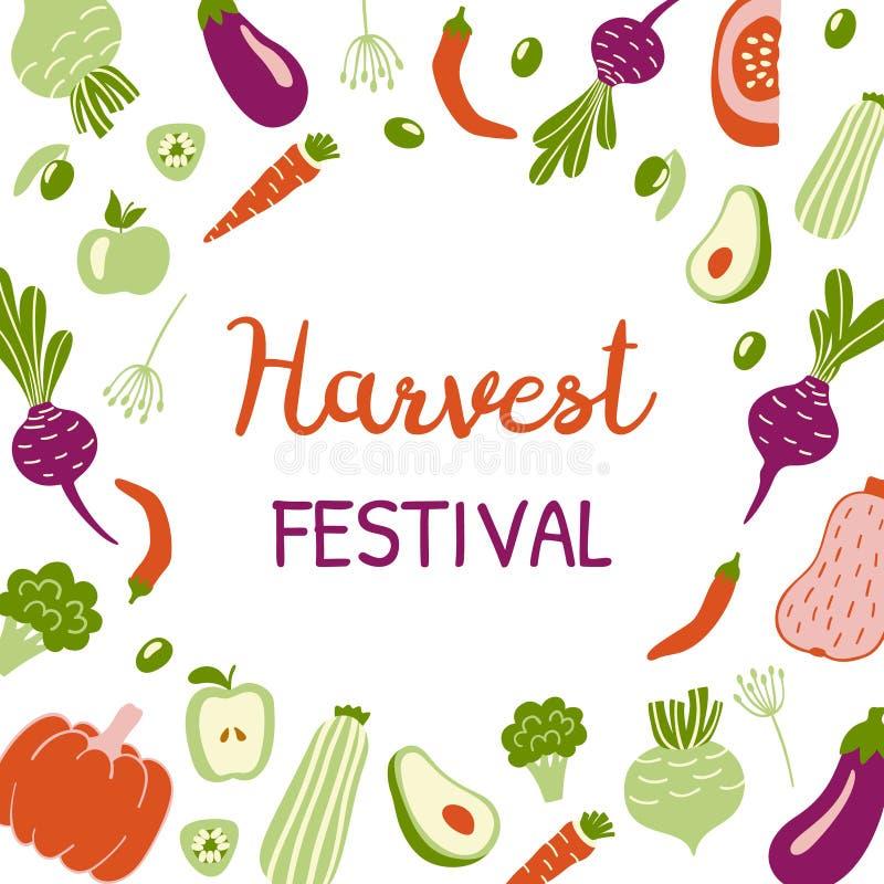 Bannière lumineuse de festival de récolte Calibre de conception moderne avec les légumes tirés par la main et espace pour le text illustration de vecteur