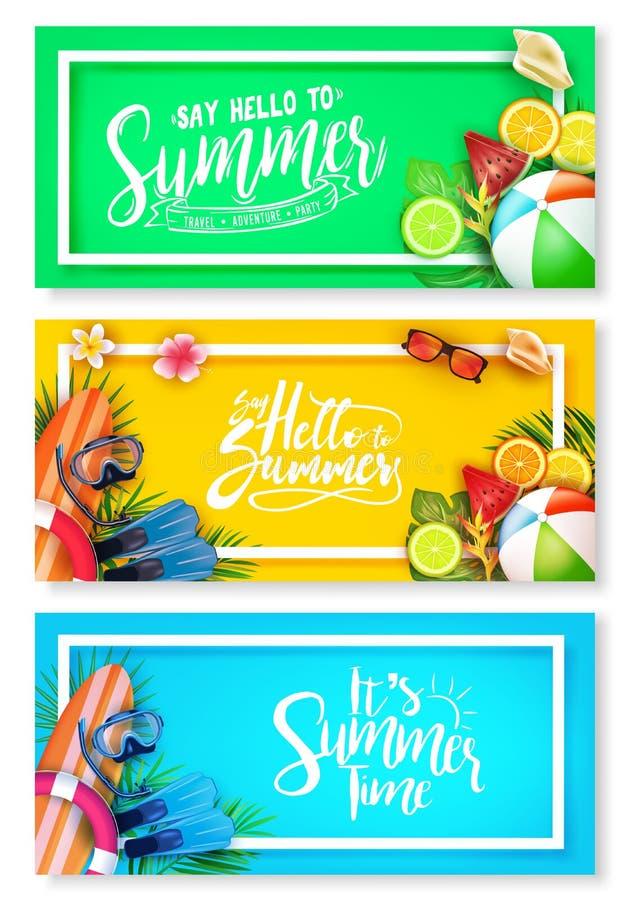Bannière lumineuse de fond de couleur d'été réglée avec les éléments tropicaux comme des palmettes, planche de surf illustration libre de droits