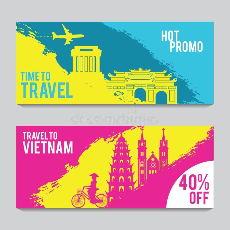 Bannière lumineuse et colorée de promotion avec le rose et la couleur bleue pour le voyage du Vietnam, conception d'art de silh illustration de vecteur