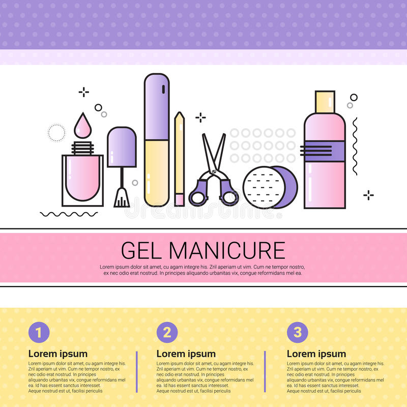 Bannière médicale d'ensemble de procédures de cosmétiques de salon d'Infographics de cosmétologie de manucure de gel avec l'espac illustration libre de droits