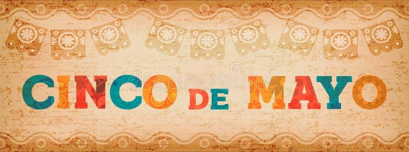Bannière mexicaine de Web de typographie d'amusement de Cinco De Mayo illustration stock