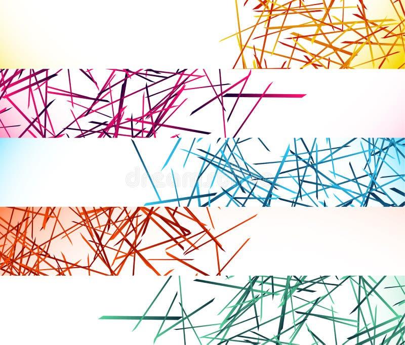 Bannière, milieux de bouton avec les lignes aléatoires et chaotiques abstraites illustration de vecteur