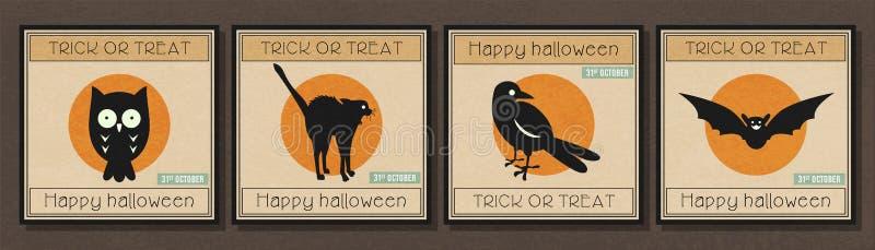 Bannière minimale heureuse de Halloween avec l'ensemble d'icône de symbole de Halloween illustration libre de droits