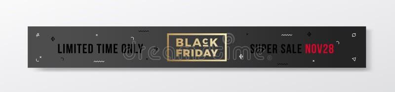 Bannière minimale ou en-tête de style suisse de Black Friday Concept moderne de typographie d'or Avec les éléments décoratifs et  illustration de vecteur