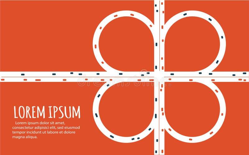 Bannière minimalistic occupée de jonction de route de route illustration libre de droits