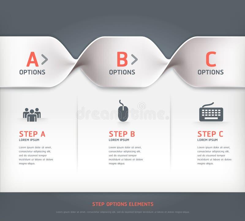 Bannière moderne d'options d'étape en spirale. illustration stock