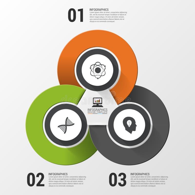 Bannière moderne d'options d'infographics avec le graphique circulaire et les icônes de 3 parts Illustration de vecteur illustration stock