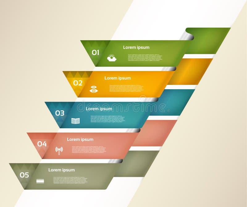 Bannière moderne d'options d'infographics avec les rubans de papier colorés Vecteur Peut être employé pour la disposition de web  illustration stock