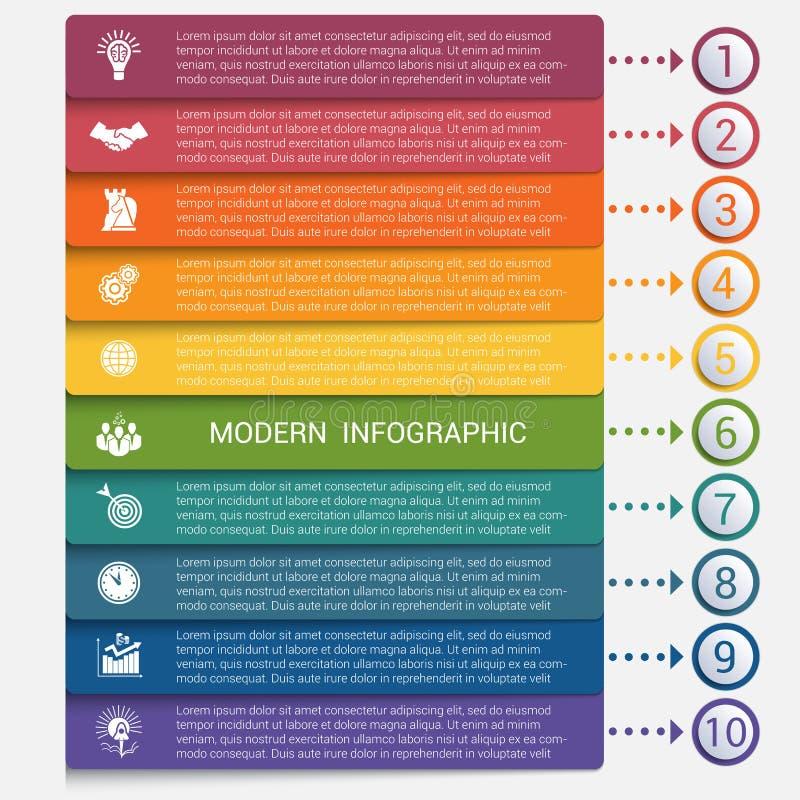 Bannière moderne d'options de l'infographics 10 de bandes illustration libre de droits
