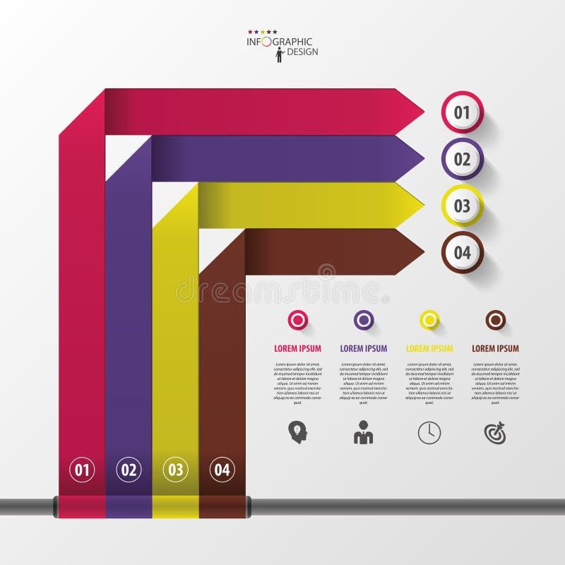 Bannière moderne d'options de style d'origami de flèche d'Infographic Vecteur illustration libre de droits