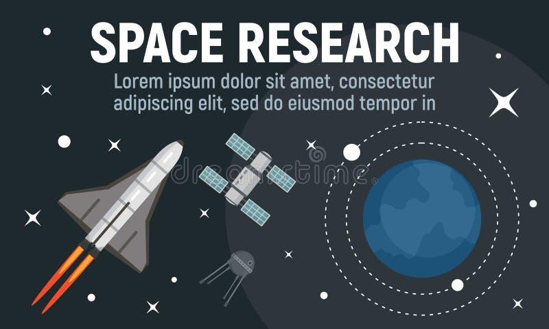 Bannière moderne de concept de recherche spatiale, style plat illustration de vecteur
