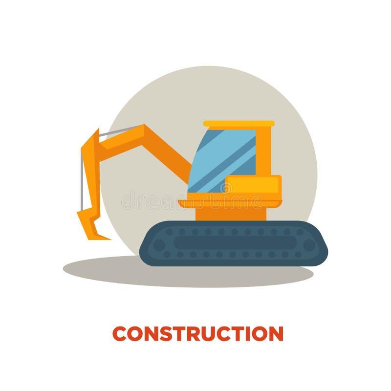Bannière moderne de promotion de technologies de construction Grande excavatrice orange illustration stock