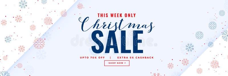 Bannière moderne de vente minimale de Noël avec des flocons de neige illustration stock
