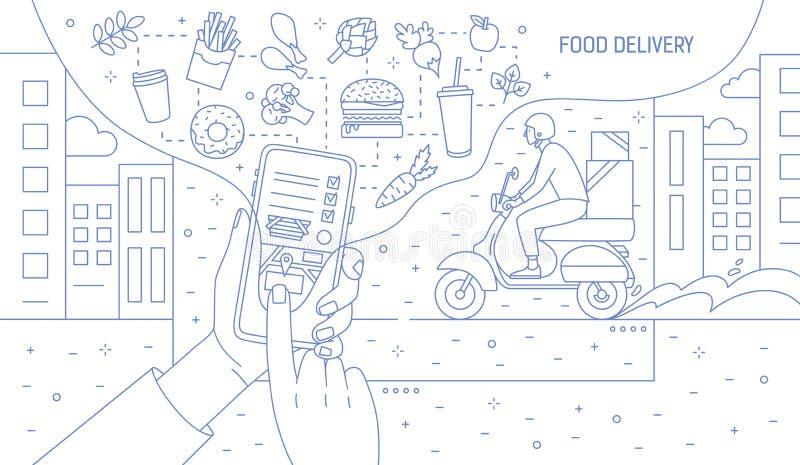 Bannière monochrome avec des mains tenant le smartphone avec l'application ou le site Web de service de distribution de nourritur illustration de vecteur