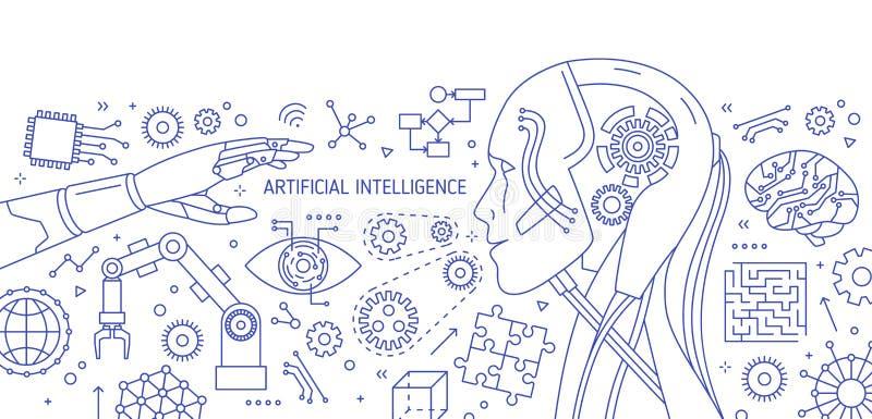 Bannière monochrome horizontale avec le robot, bras robotique, circuits intégrés, dispositifs de pointe dessinés avec des courbes illustration libre de droits