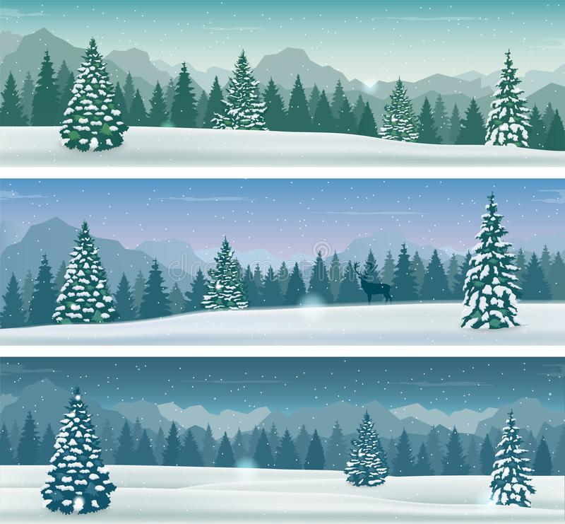 Bannière neigeuse de trois paysages avec la nature, les montagnes et les arbres sauvages de neige Vacances d'hiver Vecteur illustration libre de droits