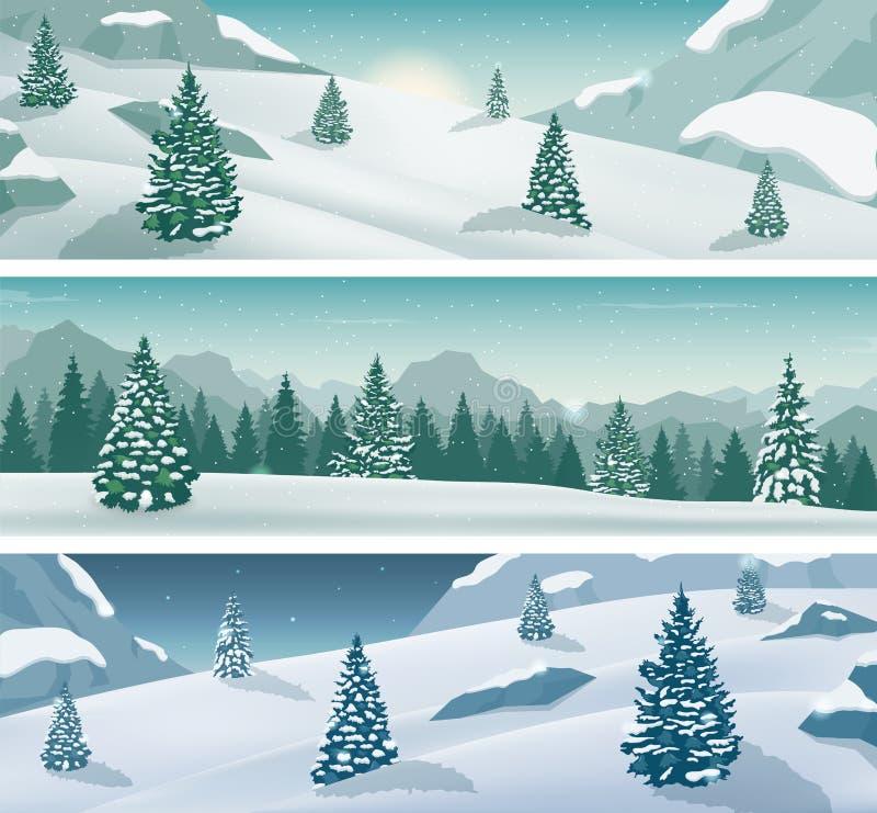 Bannière neigeuse de trois paysages avec la nature, les montagnes et les arbres sauvages de neige Vacances d'hiver Vecteur illustration stock