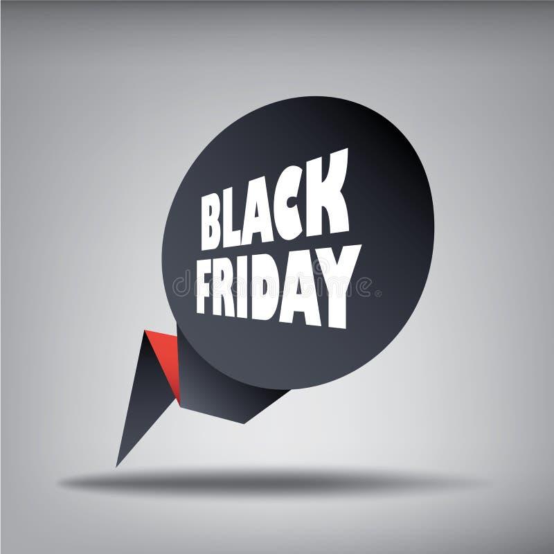 Bannière noire d'élément de Web de ventes de vendredi dans 3d pour illustration de vecteur