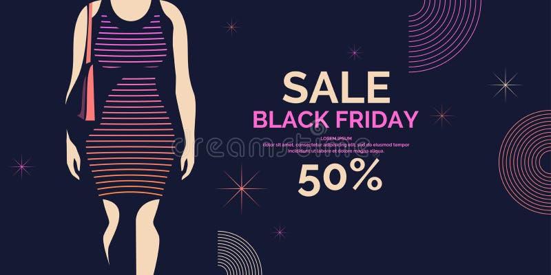 Bannière noire de vendredi Affiche à la mode de grandes ventes pour faire de la publicité vos marchandises Fille de silhouette da illustration libre de droits