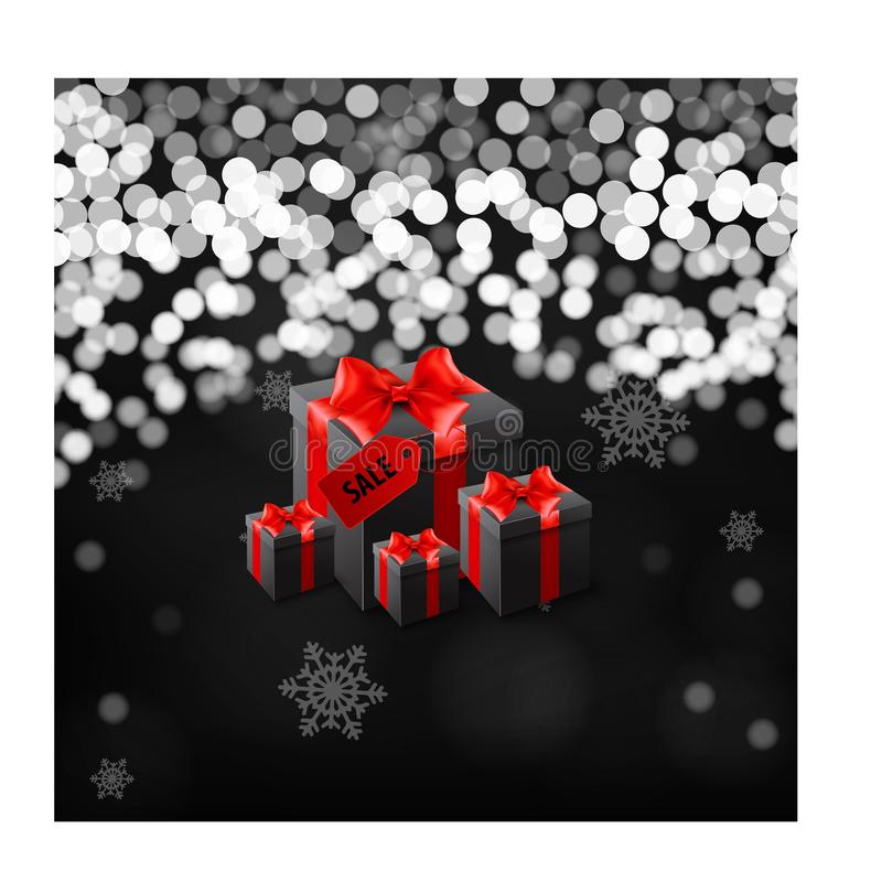 Bannière noire de vendredi avec le boîte-cadeau enveloppé en papier rayé rouge et attaché avec l'arc noir sur le fond noir illustration de vecteur