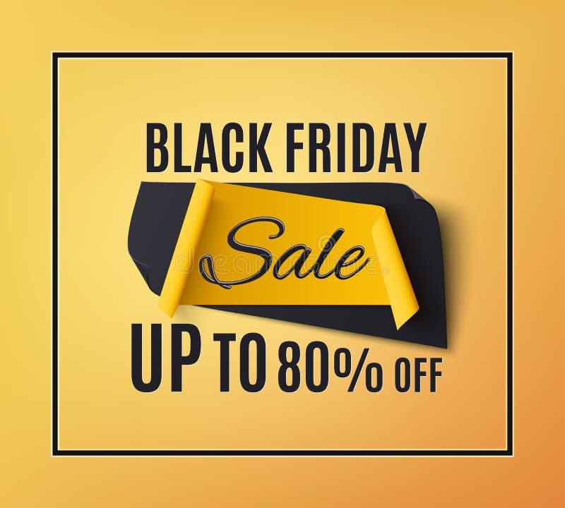 Bannière noire de vente de vendredi, sur le fond orange illustration stock