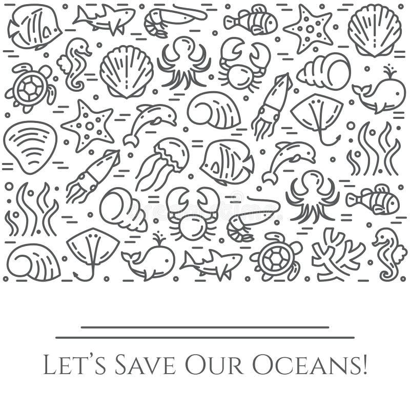 Bannière noire et blanche de thème de jour d'océans du monde - les pictogrammes des poissons, de la coquille, du requin, du dauph illustration libre de droits