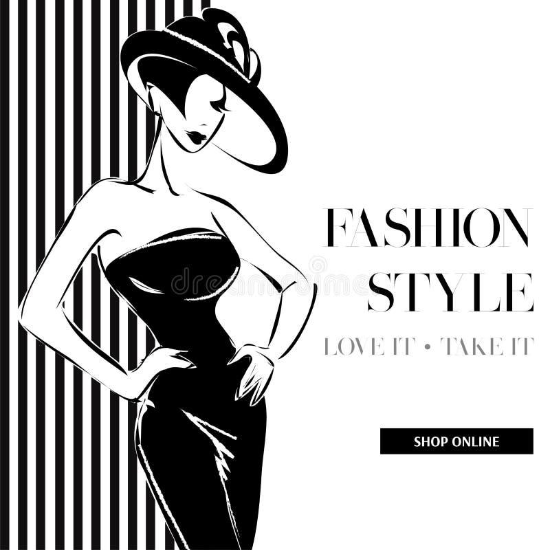 Bannière noire et blanche de vente de mode avec la silhouette de mode de femme, calibre social de Web d'annonces de media d'achat illustration stock