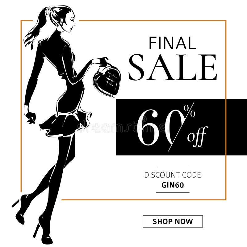 Bannière noire et blanche de vente de mode avec la silhouette de mode de femme, calibre social de Web d'annonces de media d'achat illustration de vecteur