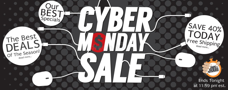 bannière noire moderne de Dot Cyber Monday Super Wide de polka du pixel 8000x3176 illustration stock