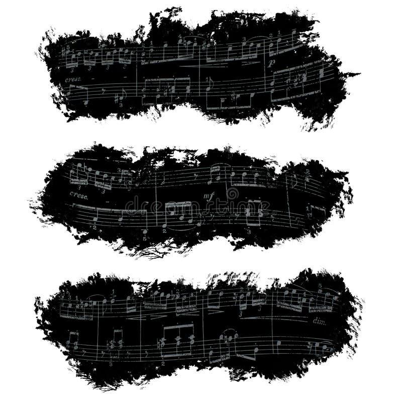 Bannière, notes musicales, fond photos libres de droits