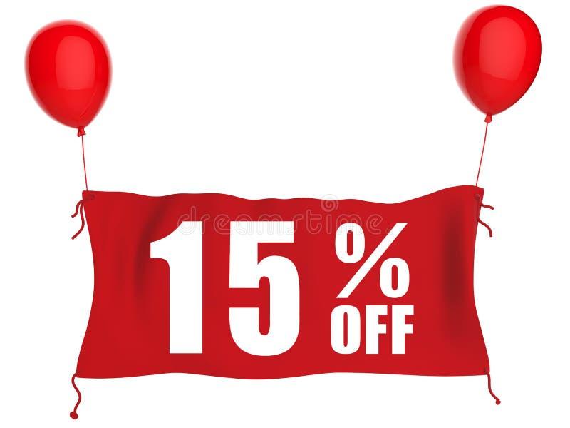 bannière 15%off sur le tissu rouge illustration libre de droits