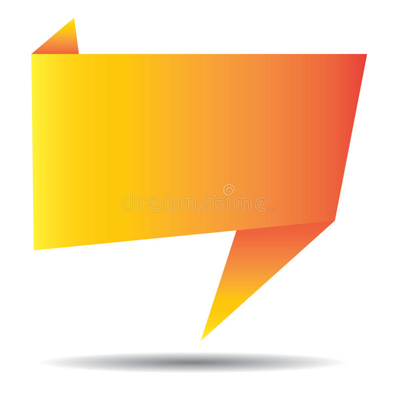 Bannière orange d'origami d'isolement sur le fond blanc Calibre coloré de bannières d'art de bruit illustration libre de droits