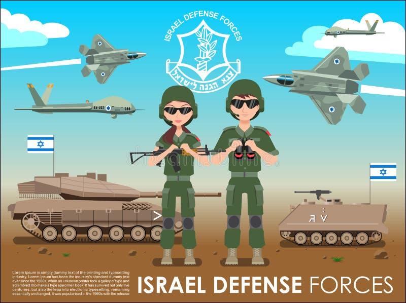 Bannière ou affiche d'armée de forces de défense de l'Israël De film encreur de soldats chars de combat également et avion à réac illustration libre de droits