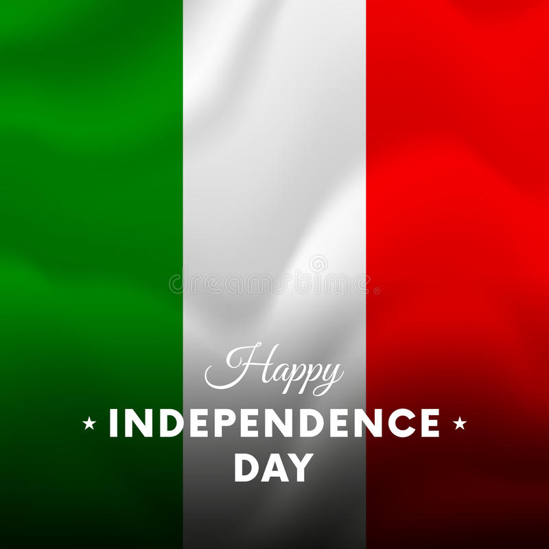 Bannière ou affiche de célébration de Jour de la Déclaration d'Indépendance de l'Italie Indicateur de ondulation Vecteur illustration libre de droits
