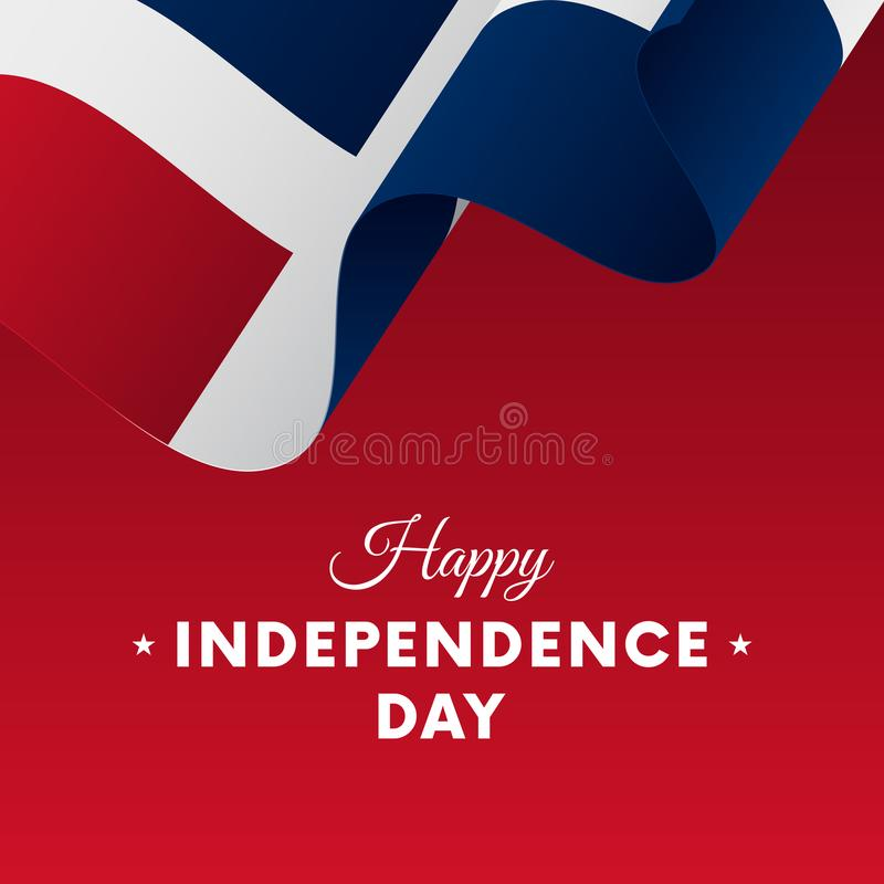 Bannière ou affiche de célébration de Jour de la Déclaration d'Indépendance de la République Dominicaine  Indicateur de ondulatio illustration de vecteur