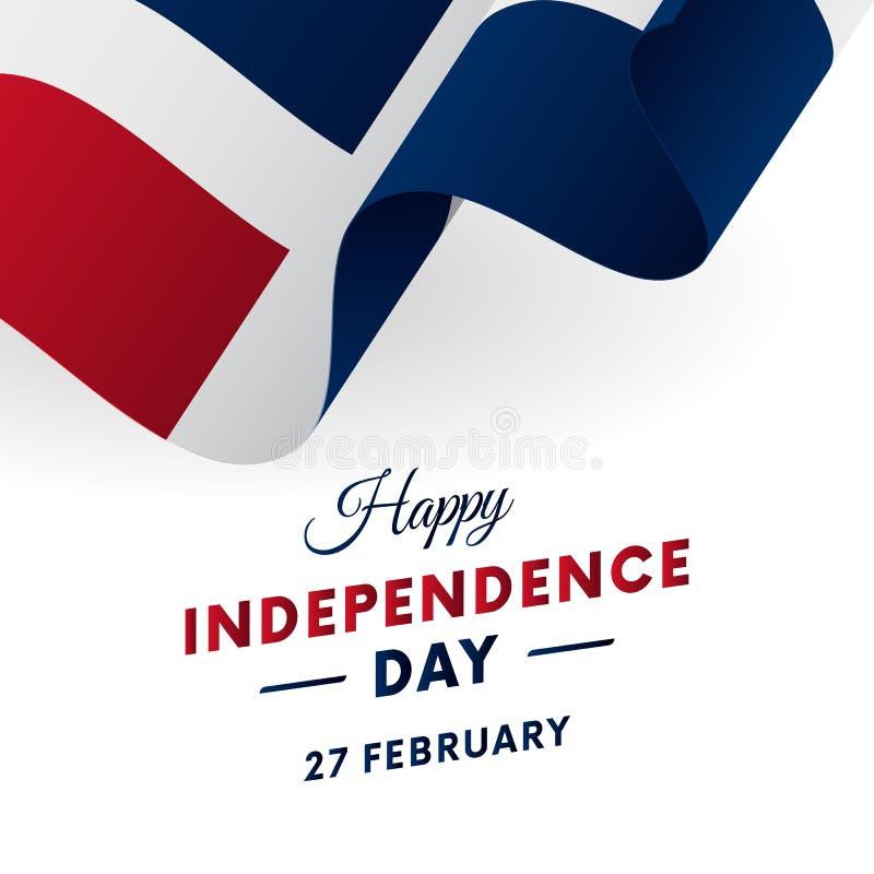Bannière ou affiche de célébration de Jour de la Déclaration d'Indépendance de la République Dominicaine  Indicateur de ondulatio illustration libre de droits