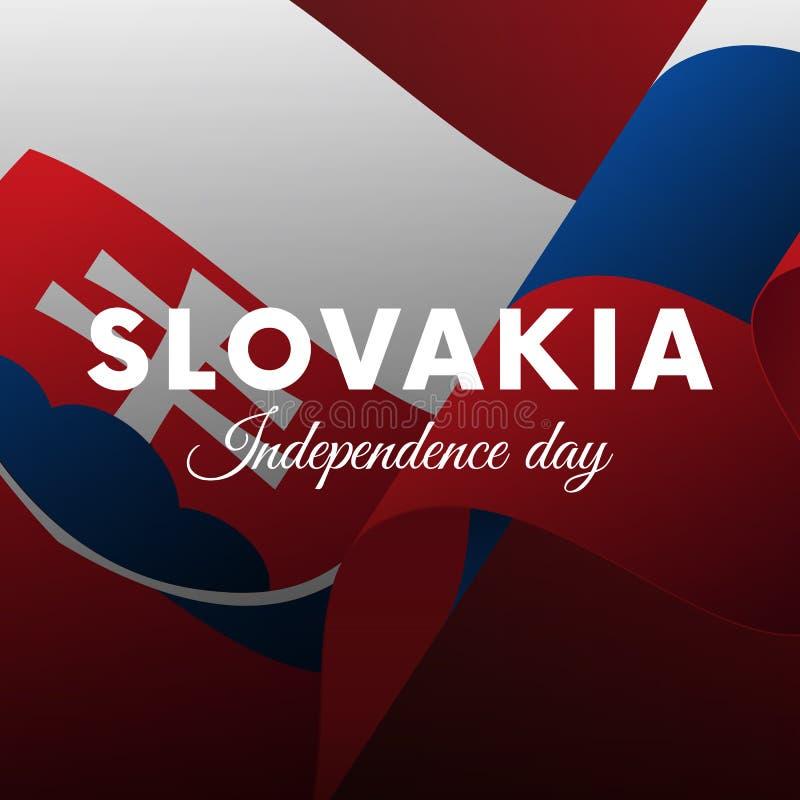 Bannière ou affiche de célébration de Jour de la Déclaration d'Indépendance de la Slovaquie Indicateur de ondulation Illustration illustration de vecteur