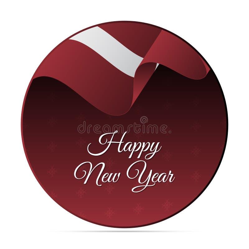 Bannière ou autocollant de bonne année Drapeau de ondulation de la Lettonie Fond de flocons de neige Illustration de vecteur illustration libre de droits