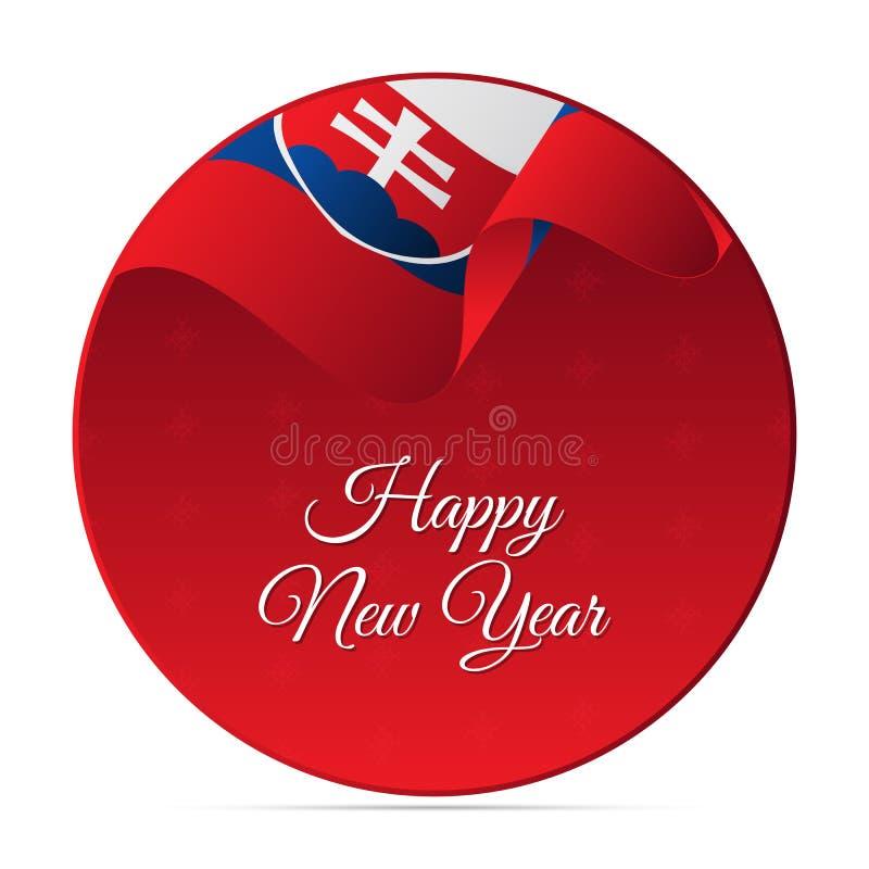 Bannière ou autocollant de bonne année Drapeau de ondulation de la Slovaquie Fond de flocons de neige Illustration de vecteur illustration libre de droits