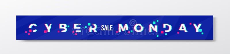 Bannière ou en-tête élégante de lundi de Cyber bleu de Digital Concept moderne de typographie de pixel avec l'effet de problème r illustration stock