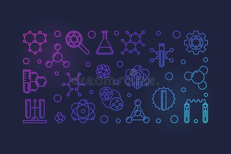Bannière ou illustration colorée par contour de vecteur de biochimie illustration de vecteur