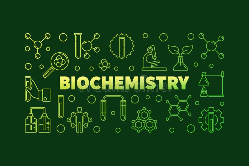 Bannière ou illustration d'ensemble de vert de vecteur de biochimie illustration libre de droits