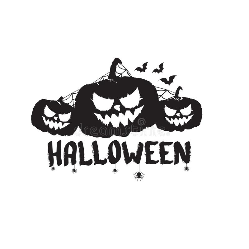 Bannière ou label heureuse des textes de Halloween Label calligraphique des textes de Halloween de vecteur avec le potiron effray illustration libre de droits