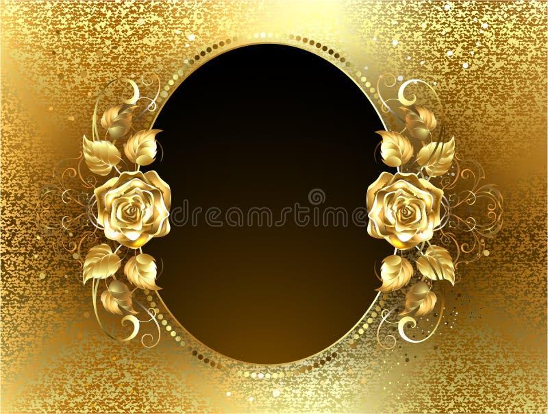 Bannière ovale avec la rose d'or illustration de vecteur