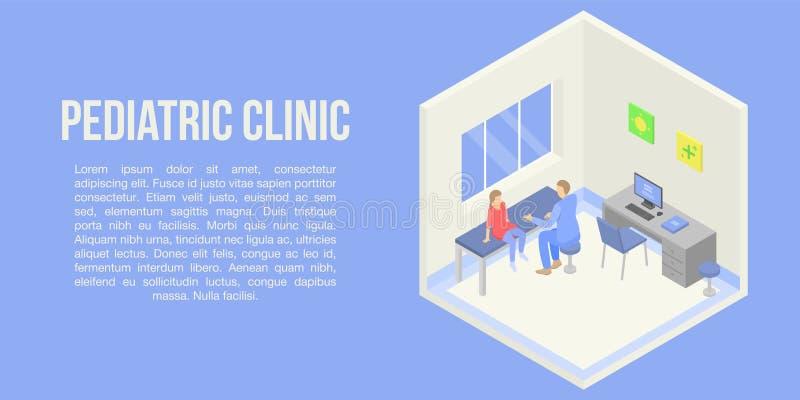Bannière pédiatrique de concept de clinique, style isométrique illustration de vecteur