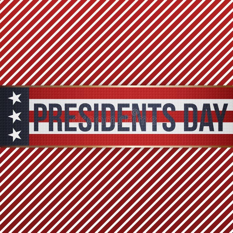 Bannière patriotique de vecteur réaliste des Présidents Day illustration libre de droits