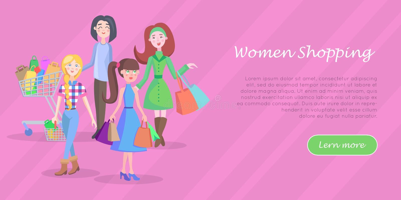 Bannière plate conceptuelle de achat de Web de vecteur de femmes illustration de vecteur