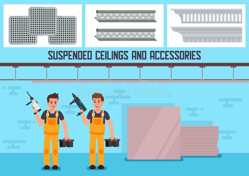 Bannière plate d'annonce de vecteur de matériaux de plafond suspendu illustration stock